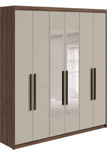 Guarda-Roupa Casal Com Espelho Libra 6 Pt 3 Gv Imbuia E Off White