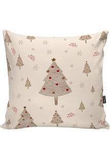 Capa Para Almofada ÁRvores De Natal- Off White & Marrom Stm Home