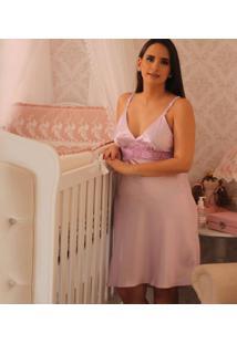 Camisola Maternidade Cor: Jujuba 2 Tam: P - Aj08 Dica De Lingerie