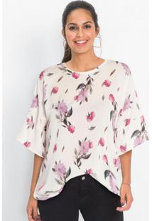 Blusa Com Mangas Amplas Floral Branca
