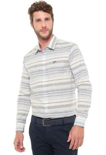 Camisa Yachtsman Reta Listrada Off-White/Azul