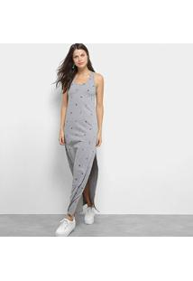 Vestido Colcci Longo Reto Estampado - Feminino-Cinza+Preto