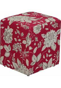 Puff Quadrado Decorativo L02 Tecido Cinza Vermelho - Lyam Decor - Vermelho - Dafiti