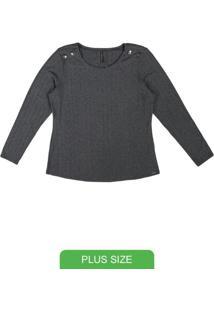 Blusa Em Malha Canelada Cinza