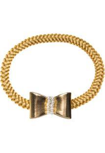 Faixa De Cabelo Trançada Laço Dourado - Roana 642-J Faixa De Cabelo Trançada Laço Pérolas Dourado