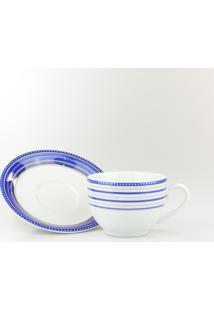 Conjunto De Xícaras Para Chá C/ Pires Porcelana Schmidt 06 Peças - Dec. Paula