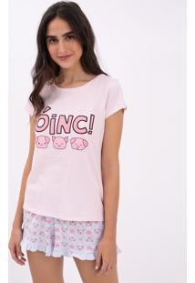 Pijama Manga Curta Estampa Porquinho