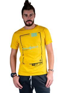 Camiseta Mister Fish Estampado Originals Est 1975 Mostarda