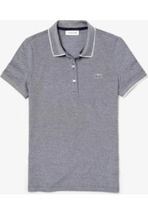Camisa Polo Lacoste Slim Fit Feminina - Feminino-Marinho+Branco