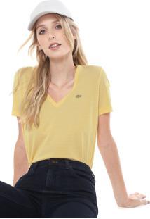 Camiseta Lacoste Listrado Amarela/Branca