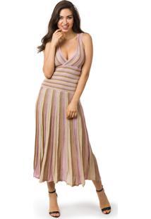 04e3304c42 Tricae. Vestido Pink Tricot Longo Plissado Listrado Feminino Lilás