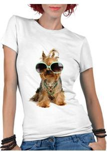 Camiseta Criativa Urbana Pet Lover Yorkshire - Feminino-Branco