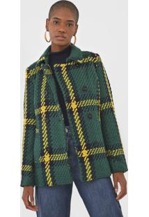 Casaco L㣠Desigual Tricot Xadrez Verde/Amarelo - Verde - Feminino - AcrãLico - Dafiti