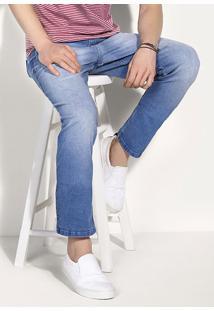 Calça Jeans Tradicional Masculina Com Lavação Clara