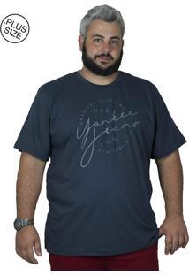 Camiseta Bigshirts Estampa Yankee Azul Marinho