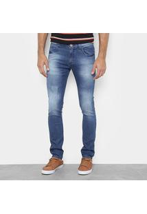 Calça Jeans Slim Preston Five Pokets Estonada Masculina - Masculino-Azul