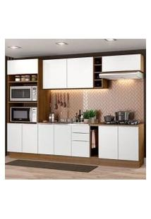 Cozinha Completa Madesa Stella 290001 Com Armário E Balcão Rustic/Branco Cor:Rustic/Branco