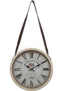 Relógio De Parede- Bege & Branco- Ø40X6Cm- Mabrumabruk
