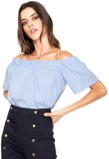 Blusa Facinelli By Mooncity Ombro-A-Ombro Listras Azul