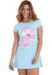 Camisola Estampada Em Algodão Luna Cuore - Feminino-Azul