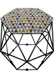 Puff D'Rossi Decorativo Aramado Geométrico Hexágono D97 Base Preta