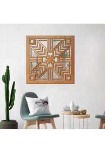 Escultura De Parede Wevans Geometrico, Madeira + Espelho Decorativo