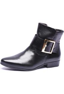 Bota Bico Fino Cano Curto Em Couro Trivalle Shoes Preto - Kanui