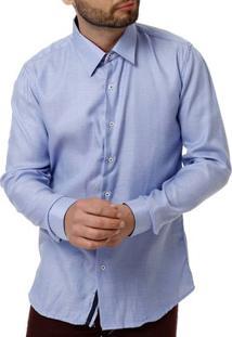 Camisa Manga Longa Masculina Azul