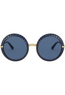 Dolce & Gabbana Eyewear Óculos De Sol Redondo Plissé - Azul