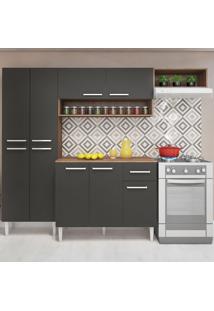 Cozinha Compacta 9 Portas 1 Gaveta Yasmin Teka/Grafite - Pnr Móveis