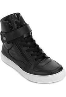 Tênis Couro Cano Alto Hardcore Footwear Velcro Zíper Masculino - Masculino-Preto