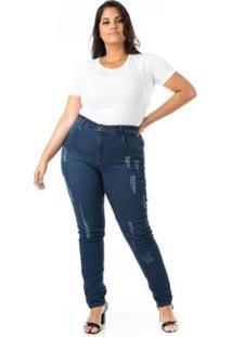 Calça Jeans Cigarrete Tradicional Básica Plus Size Confidencial Extra Feminina - Feminino-Azul