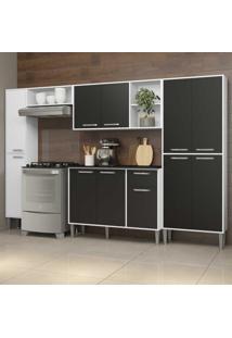Cozinha Completa Compacta C/ Armário E Balcão C/ Tampo 5 Pçs Xangai Classic Multimóveis Bca/Preta