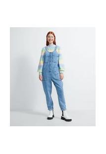 Macacão Longo Jeans Com Bolsos E Bordados Coloridos | Blue Steel | Azul | G