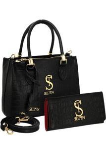 Kit Bolsa Selten Handbag Couro Croco + Carteira Feminina - Feminino-Preto