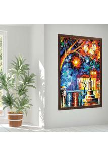 Quadro Love Decor Com Moldura Noite Na Praã§A Madeira Escura Mã©Dio - Multicolorido - Dafiti