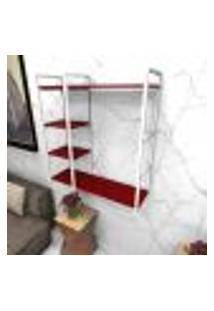 Estante Estilo Industrial Sala Aço Cor Branco 90X30X98Cm Cxlxa Cor Mdf Vermelho Modelo Ind44Vrsl