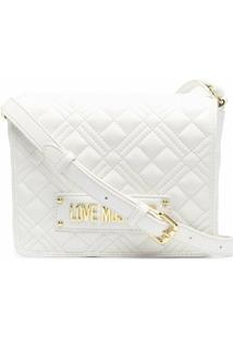 Love Moschino Bolsa Transversal Matelassê Com Placa De Logo - Branco