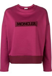 Moncler Blusa De Moletom Com Patch De Logo - Rosa