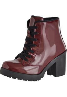 Bota Sapatofranca Ankle Boot Cano Curto Salto Médio Com Cadarço Bordô - Tricae