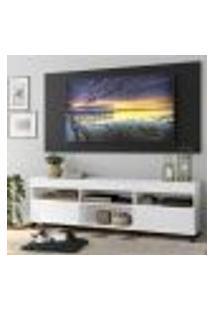 """Rack Com Painel Tv 65"""" Com Rodízios E 2 Portas Londres Multimóveis Branco/Preto"""