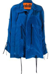 Colville Oversized Drawstring Rain Jacket - Azul