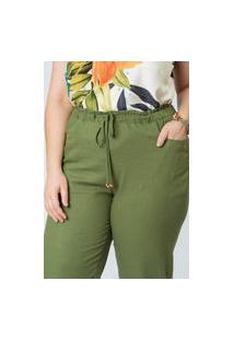 Calça Almaria Plus Size Munny Linho Reta Verde