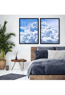 Quadro 65X90Cm Nuvens Céu Azul Moldura Preta Com Vidro