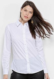 Camisa Facinelli Manga Longa Poá Feminina - Feminino-Branco