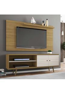 Rack Com Painel Para Tv Até 50 Polegadas Onix Cinamomo/Off White - Bechara Móveis