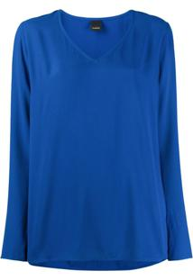 Pinko Blusa Decote Em V - Azul