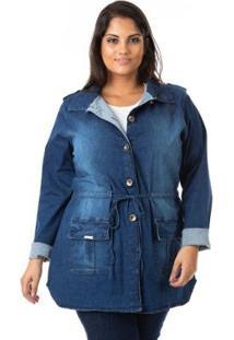 Parka Jeans Com Lycra Plus Size Confidencial Extra Feminina - Feminino-Azul