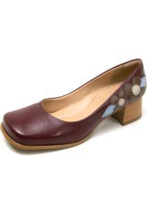 Sapato Retrô Bico Quadrado Touro Boots Feminino Vinho - Kanui