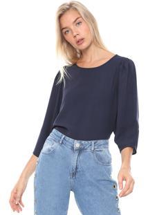Blusa Colcci Drapeados Azul-Marinho